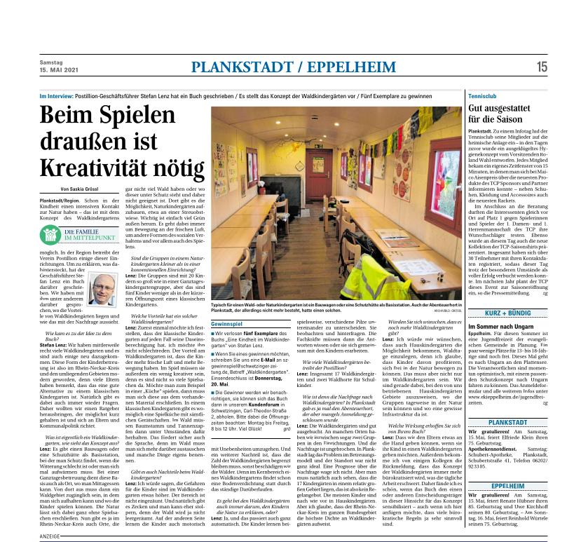 """Interview mit Stefan Lenz in der Hockenheimer Tageszeitung zum Thema """"Kindheit im Waldkindergarten""""."""